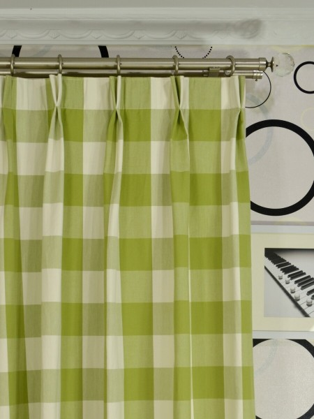 Moonbay Checks Double Pinch Pleat Cotton Curtains Heading Style