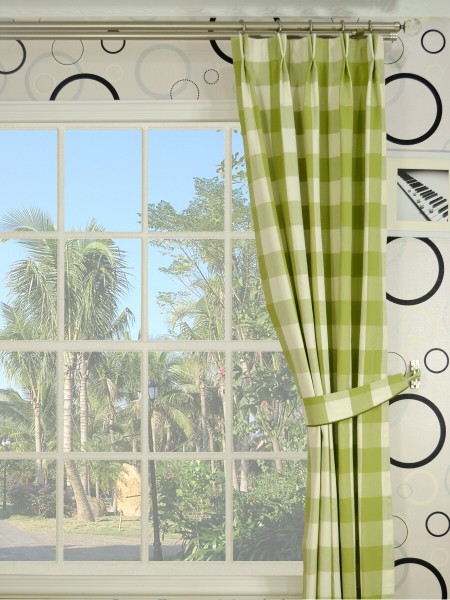Moonbay Checks Double Pinch Pleat Cotton Curtains