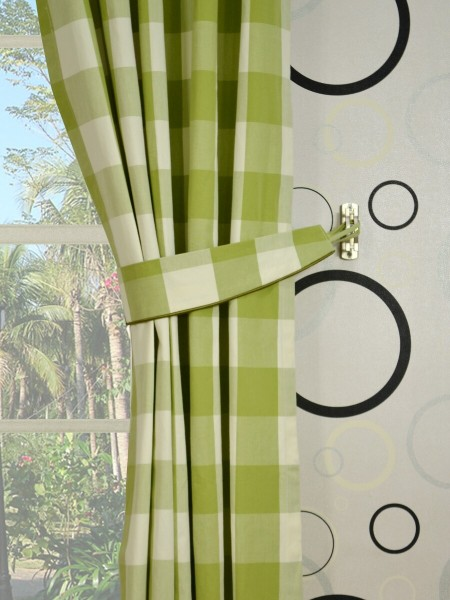 Moonbay Checks Double Pinch Pleat Cotton Curtains Decorative Tiebacks