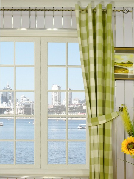 Moonbay Checks Grommet Cotton Curtains