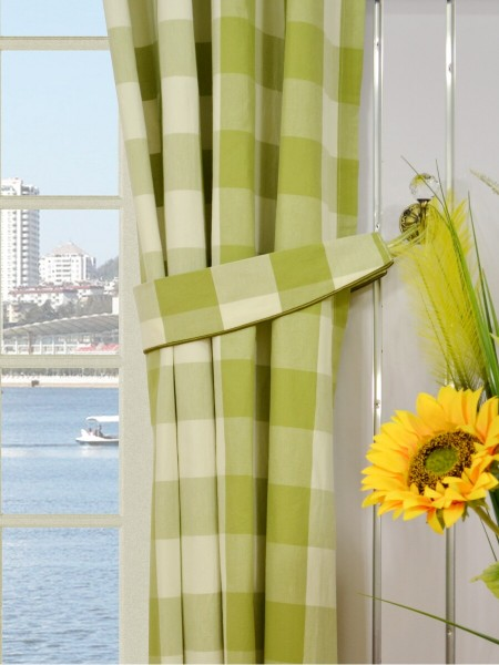 Moonbay Checks Grommet Cotton Curtains Decorative Tiebacks