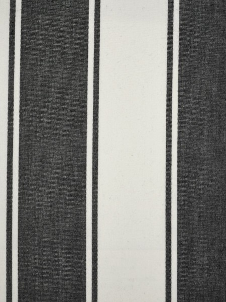 Moonbay Stripe Back Tab Cotton Curtains (Color: Black)