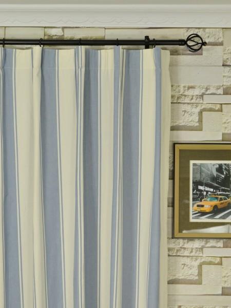 Moonbay Stripe Cotton  Custom Made Curtains (Heading: Versatile Pleat)