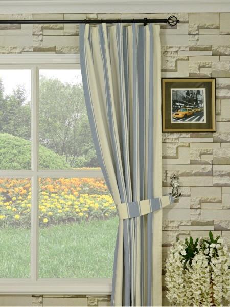 Moonbay Stripe Versatile Pleat Cotton Curtains