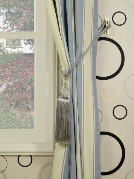 Moonbay Stripe Grommet Cotton Curtains Tassel Tiebacks
