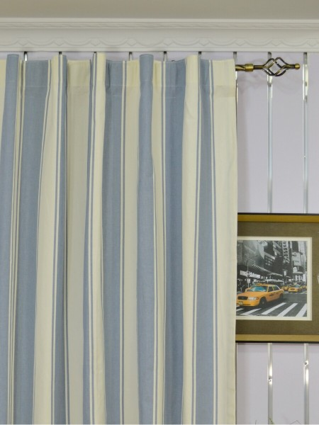 Moonbay Stripe Back Tab Cotton Curtains Heading Style