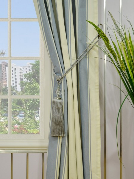 Moonbay Stripe Back Tab Cotton Curtains Tassel Tiebacks