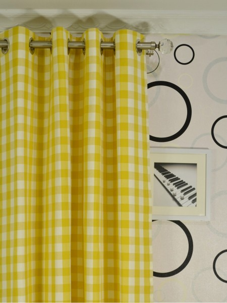 Moonbay Small Plaids Grommet Curtains Heading Style