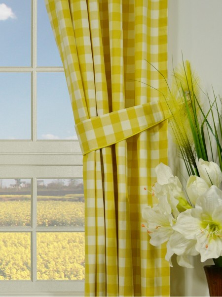 Moonbay Small Plaids Concealed Tab Top Curtains Decorative Tiebacks