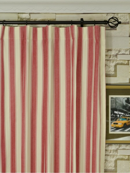 Moonbay Narrow-stripe Cotton  Custom Made Curtains (Heading: Versatile Pleat)