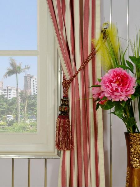 Moonbay Narrow-stripe Double Pinch Pleat Curtains Tassel Tiebacks