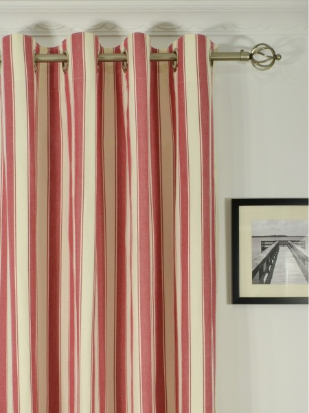 Moonbay Narrow-stripe Cotton  Custom Made Curtains (Heading: Grommet)