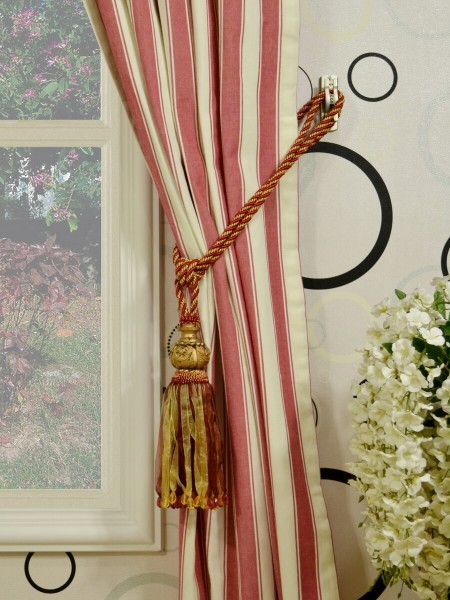 Moonbay Narrow-stripe Back Tab Curtains Tassel Tiebacks