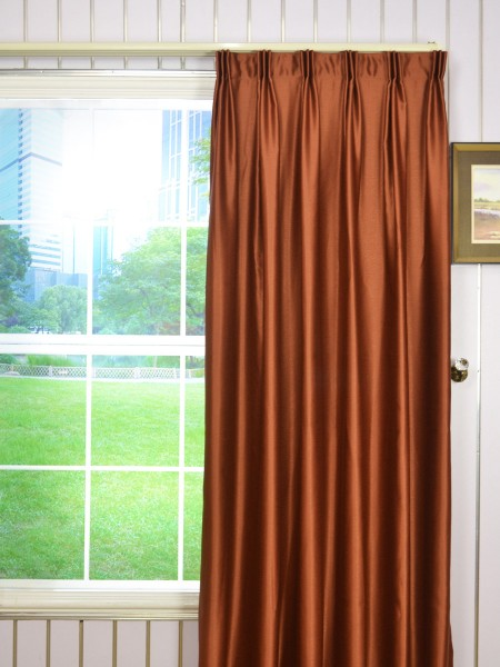 Extra Wide Swan Brown Solid Versatile Pleat Curtains 100