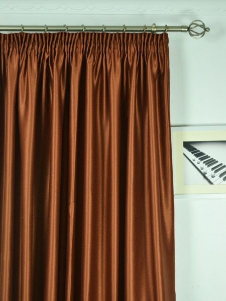 Extra Wide Swan Brown Solid Pencil Pleat Curtains 100