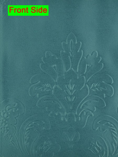 Swan Embossed Huahinia Floral Wave Lined Valance with Decorations (Color: Dark Cyan)