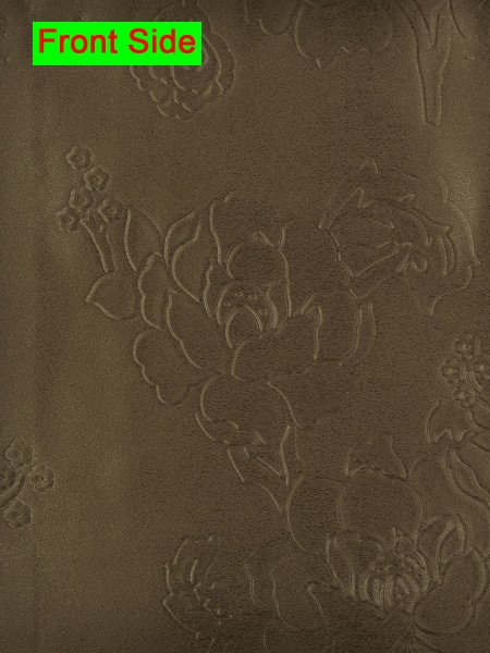 Swan Embossed Medium-scale Floral Symmetry Large Wave Lined Valance (Color: Raw Umber)