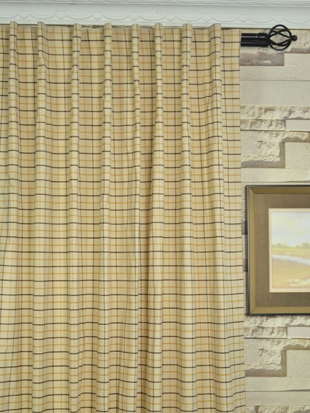 Extra Wide Hudson Small Plaid Back Tab Curtains 100 Inch - 120 Inch Curtains Heading Style