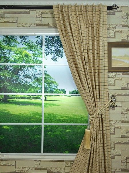 Extra Wide Hudson Small Plaid Back Tab Curtains 100 Inch - 120 Inch Curtains