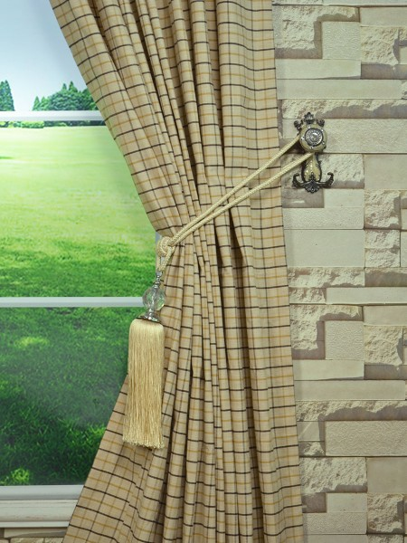Extra Wide Hudson Small Plaid Back Tab Curtains 100 Inch - 120 Inch Curtains Tassel Tieback