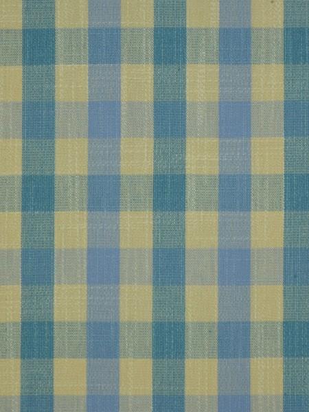 Hudson Cotton Blend Small Check Back Tab Curtain (Color: Capri)