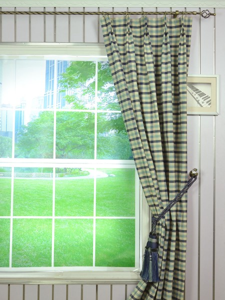 Extra Wide Hudson Small Check Double Pinch Pleat Curtains