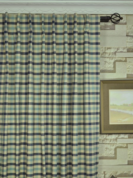 Hudson Cotton Blend Small Check Back Tab Curtain Heading Style