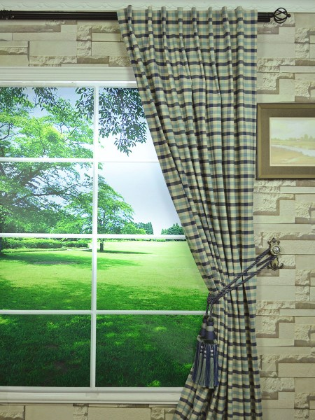 Hudson Cotton Blend Small Check Back Tab Curtain