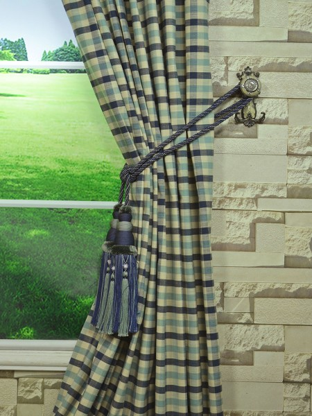 Extra Wide Hudson Small Check Back Tab Curtains 100 120
