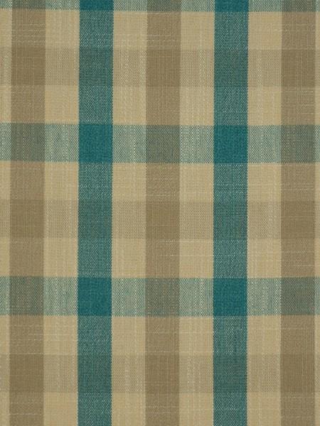 Hudson Cotton Blend Small Check Back Tab Curtain (Color: Celadon Blue)