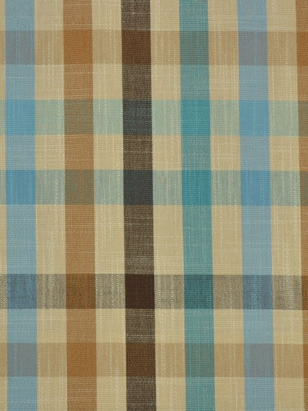Hudson Cotton Blend Middle Check Versatile Pleat Curtain (Color: Capri)