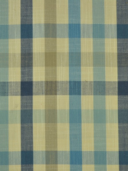 Hudson Cotton Blend Middle Check Versatile Pleat Curtain (Color: Bondi blue)