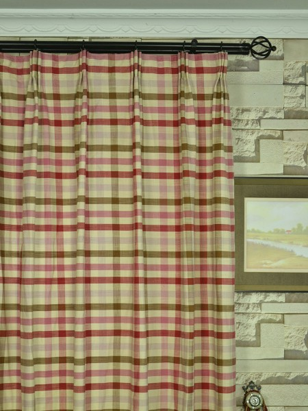 Hudson Cotton Blend Middle Check Versatile Pleat Curtain Heading Style