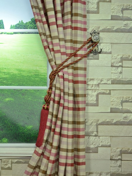 Hudson Cotton Blend Middle Check Versatile Pleat Curtain Tassel Tieback