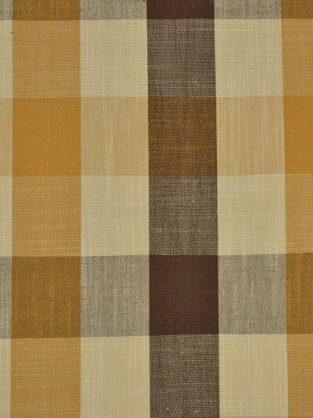 Hudson Cotton Blend Bold-scale Check Double Pinch Pleat Curtain (Color: Coffee)