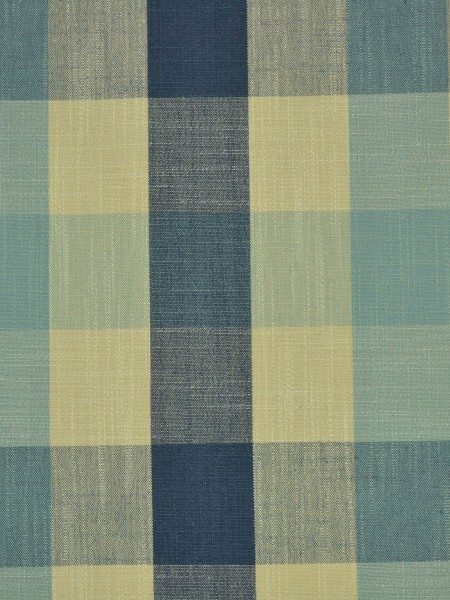 Extra Wide Hudson Bold-scale Check Back Tab Curtains 100 Inch - 120 Inch Curtain (Color: Bondi blue)