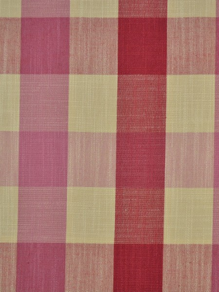 Hudson Cotton Blend Bold-scale Check Double Pinch Pleat Curtain (Color: Cardinal)
