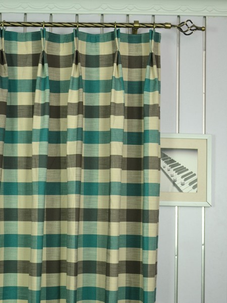 Hudson Cotton Blend Bold-scale Check Double Pinch Pleat Curtain Heading Style