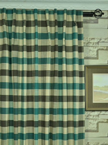 Extra Wide Hudson Bold-scale Check Back Tab Curtains 100 Inch - 120 Inch Curtain Heading Style