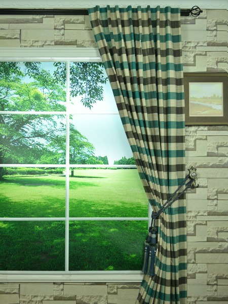 Extra Wide Hudson Bold-scale Check Back Tab Curtains 100 Inch - 120 Inch Curtain