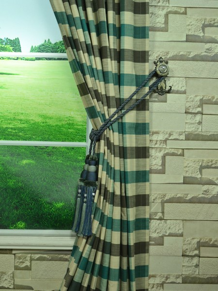 Extra Wide Hudson Bold-scale Check Back Tab Curtains 100 Inch - 120 Inch Curtain Tassel Tieback
