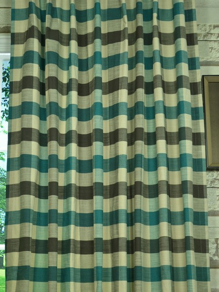 Extra Wide Hudson Bold-scale Check Back Tab Curtains 100 Inch - 120 Inch Curtain Fabric
