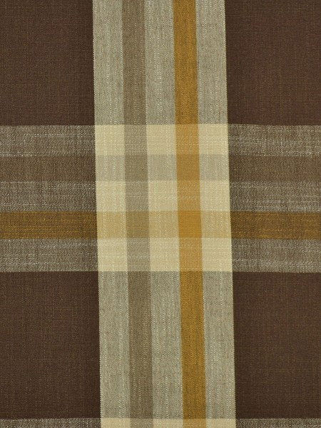 Hudson Cotton Blend Large Plaid Tab Top Curtain (Color: Coffee)
