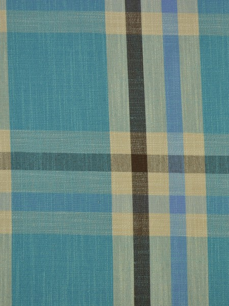 Hudson Cotton Blend Large Plaid Tab Top Curtain (Color: Capri)