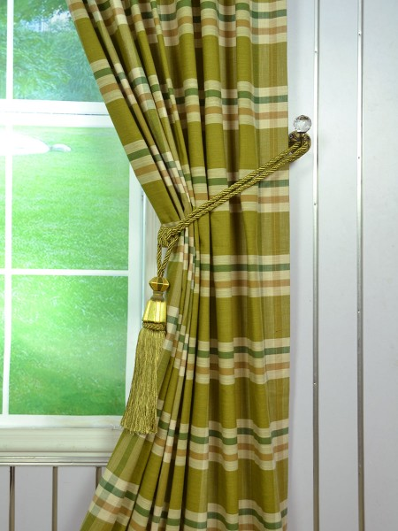 Hudson Cotton Blend Large Plaid Tab Top Curtain Tassel Tieback