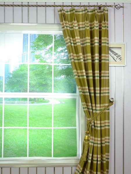 Extra Wide Hudson Large Plaid Double Pinch Pleat Curtains