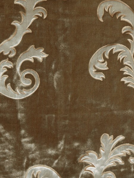 Hebe Mid-scale Scrolls Velvet Fabric Sample (Color: Lion)