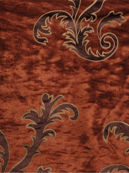 Hebe Mid-scale Scrolls Velvet Fabric Sample (Color: Rust)