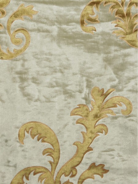 Hebe Mid-scale Scrolls Velvet Fabric Sample (Color: Beige)