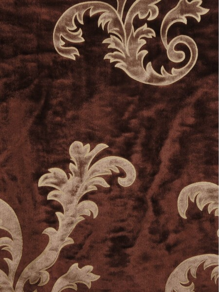 Hebe Mid-scale Scrolls Velvet Fabric Sample (Color: Wine)